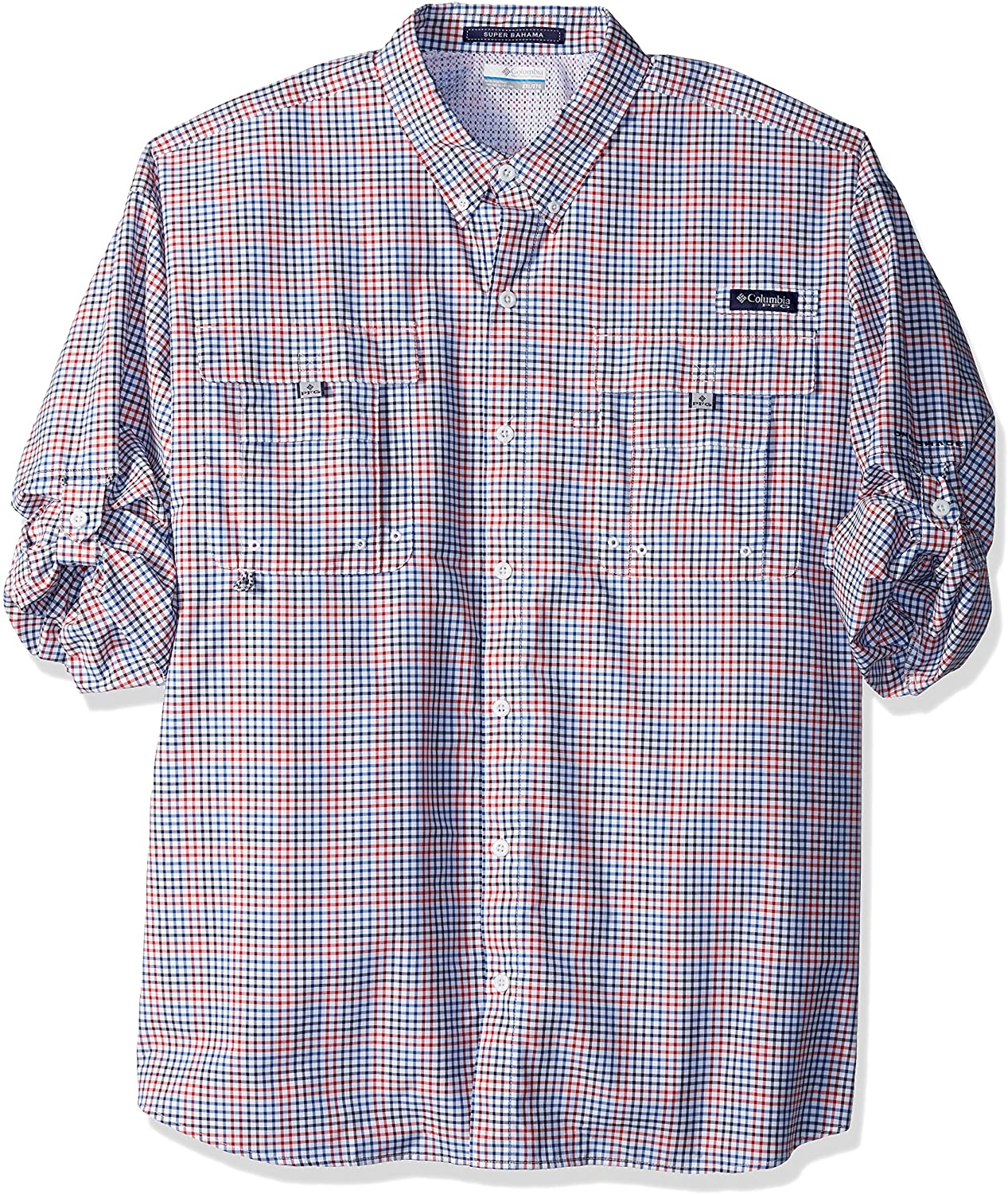 Columbia Men's Super Bahama Long Sleeve Shirt, Collegiate Navy Multi Plaid, X-Large