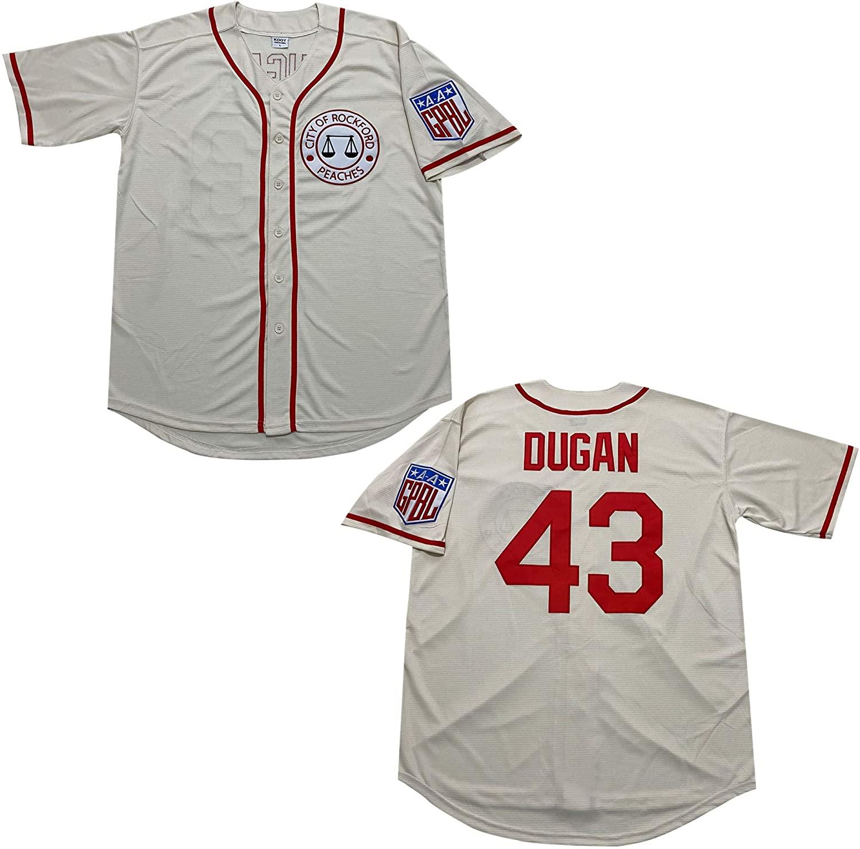 Kooy Tom Hanks 43 Jimmy Dugan Rockford Peaches Baseball Jerseys Men Summer Christmas