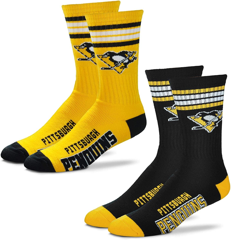 For Bare Feet Men's NHL (2-Pack)-4 Stripe Deuce Crew Socks-Pittsburgh Penguins-Large