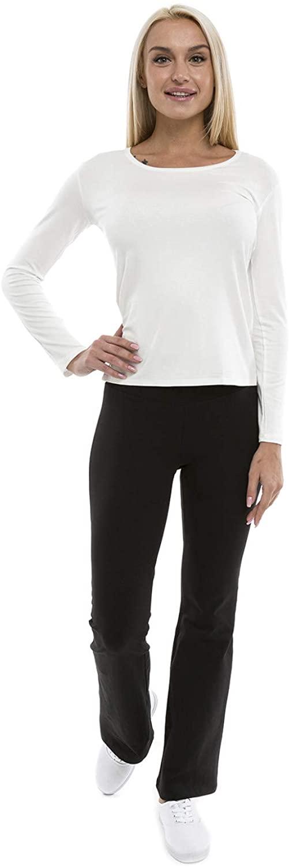 Lunarable Women's Flare Leg Workout Pants Fold Over Waist