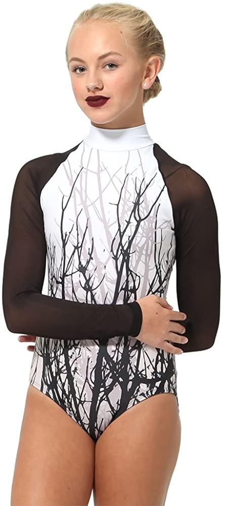 Alexandra Collection Womens Long Sleeve Mesh Tree Dance Costume Performance Leotard