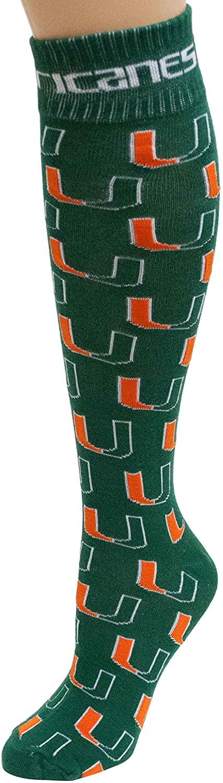 Donegal Bay NCAA Miami Hurricanes Dress Socks, One Size, Green