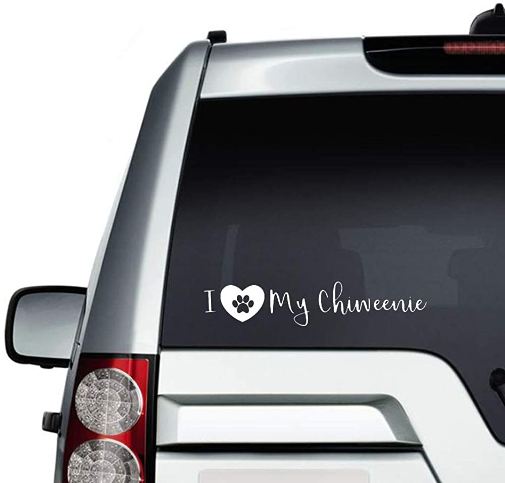 N/ A I Love My Chiweenie Dog Vinyl Sticker Graphic Bumper Tumbler Decal for Vehicles Car Truck Windows Laptop MacBook Phone Wall Door