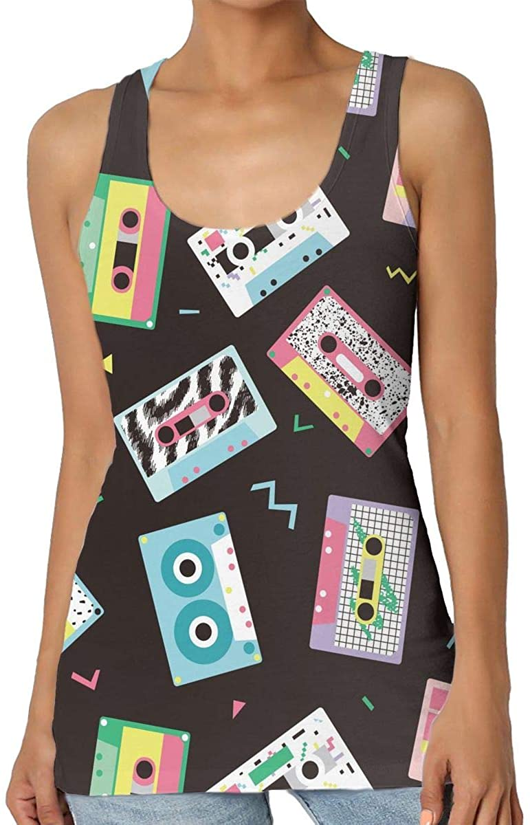 Women's Tank Top Audio Tapes in Retro 80s Style 3D Printed Sleeveless Racerback Vest Shirts