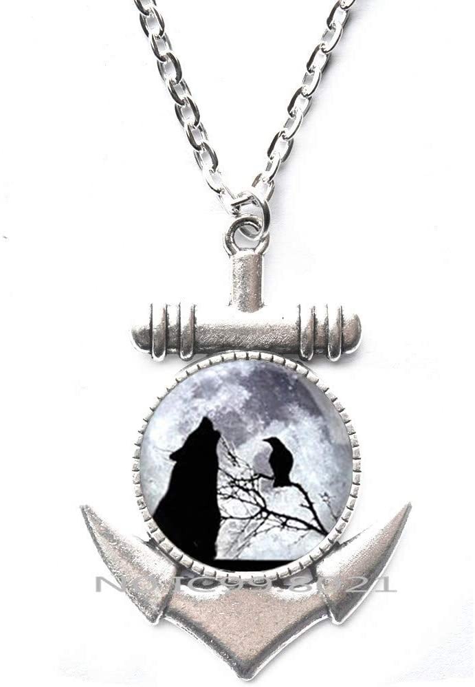 maoqunza Wolf anf Raven Full Moon Art Glass Dome Pendant Anchor Necklace Fashion Jewelry Anchor Necklaces for Women Men Gifts-RG149