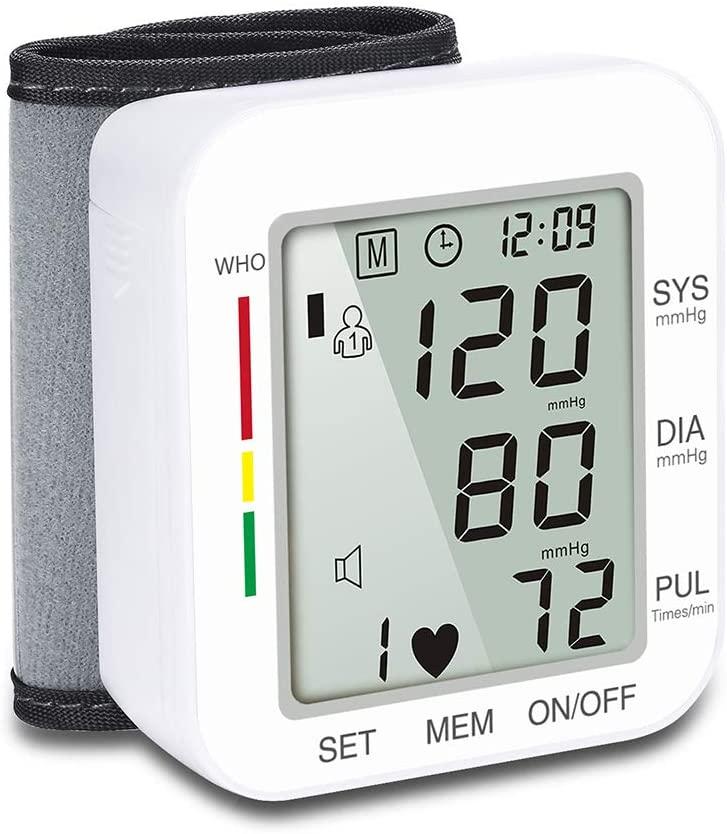 Blood Pressure Monitor sphygmomanometer Wrist Voice Broadcast Measuring Instrument LCD Digital Display Accurate Measurement,White