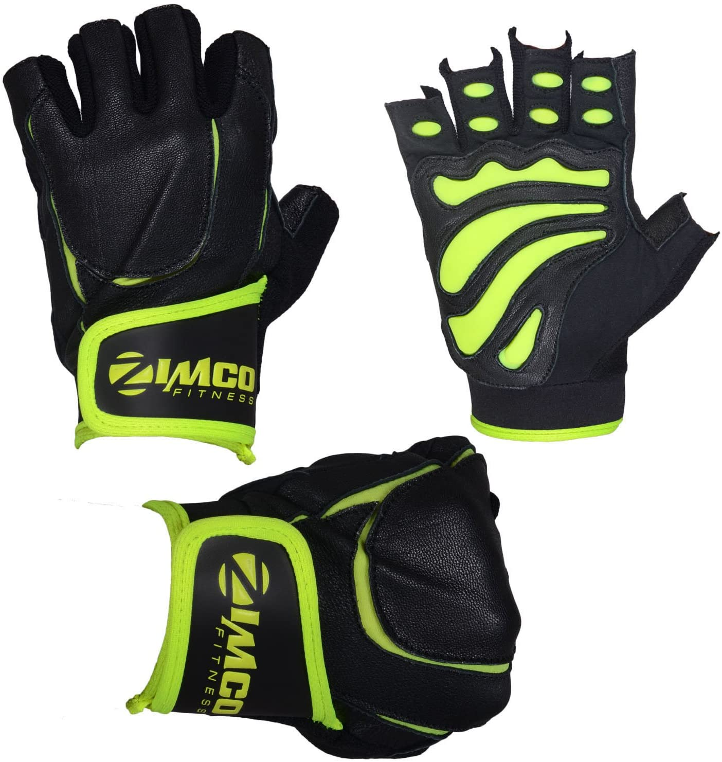 Zimco Pro Weight Lifting Gloves Fitness Mitts Genuine Leather Neon Green Gloves