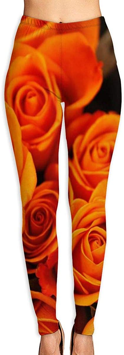 AUISS Lady Yoga Pants Leggings Orange Rose Running Workout Fitness Long Trousers Training Gym