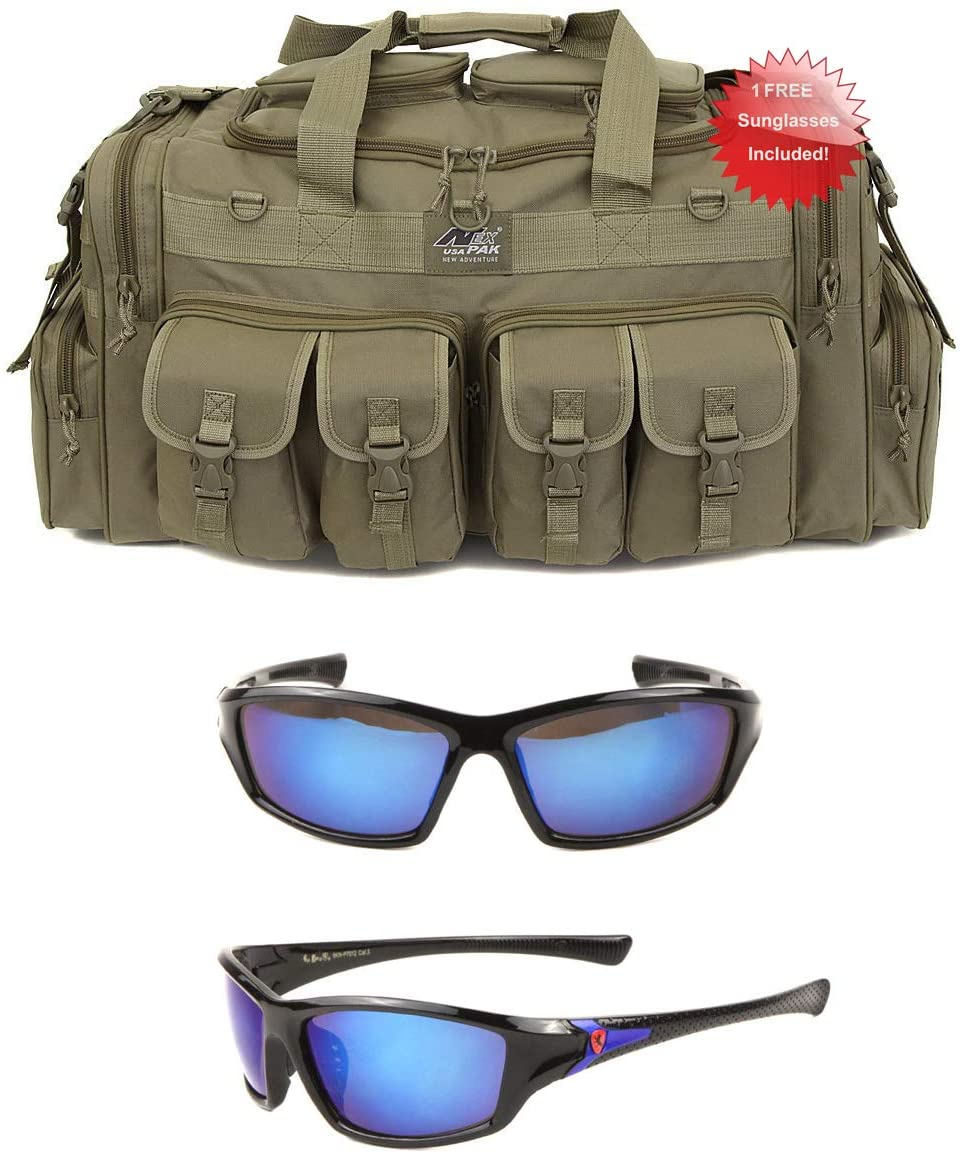 Nexpak TFBP130 30 Inch Waterproof 2 in 1 Backpack Duffel Duffle Molle Tactical Hiking Range Bag 5100 Cu in + Key Ring Carabiner