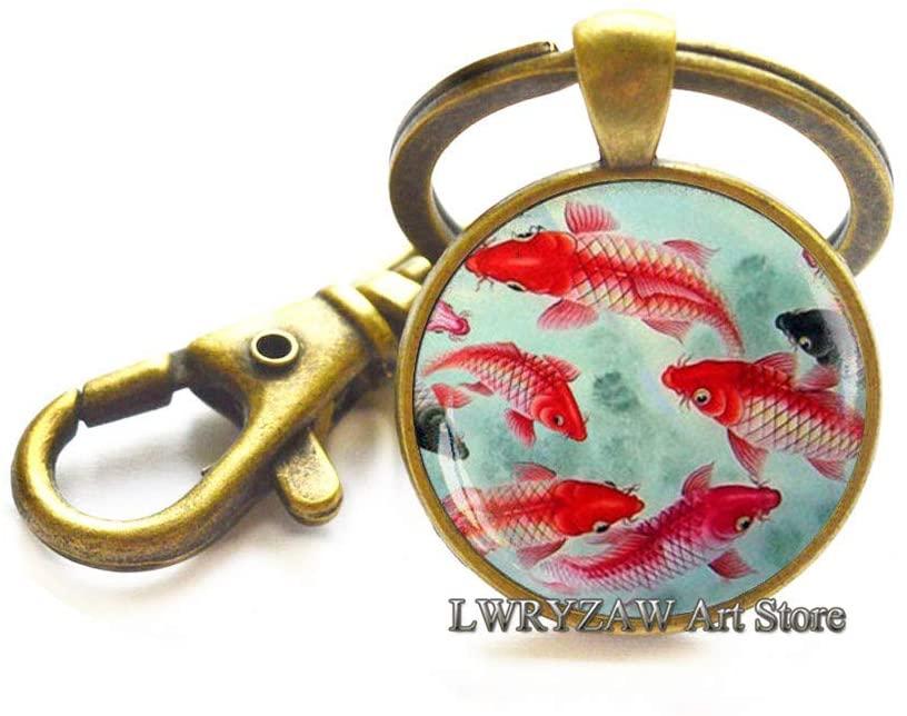 Koi Fish Keychain, Japanese Koi Fish, Japanese Art Key Ring, Koi Fish Art, Asian Art Keychain, Fish Key Ring,M130