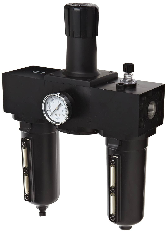 Parker P3NCB96SGMNGLNA Three-Unit Combo Compressed Air Filter/Regulator/Lubricator, 3/4