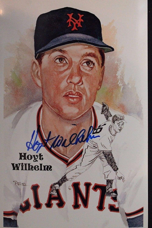 Hoyt Wilhelm (d.02) New York Giants Autograph 4x6 Signed Perez Postcard 17A - JSA Certified - MLB Cut Signatures