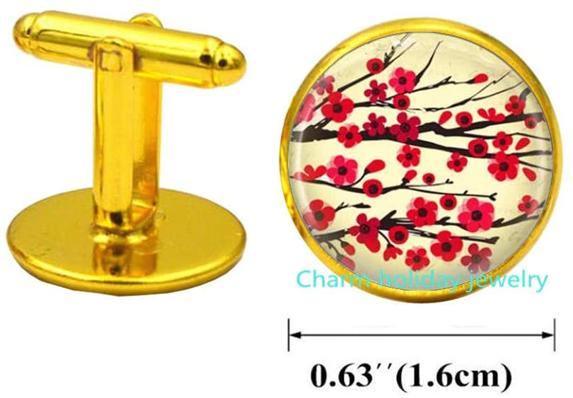 Blossom Charm Cufflinks-Flower Cherry Blossom Charm Cufflinks Cuff Links, Bridesmaid Jewelry-#185
