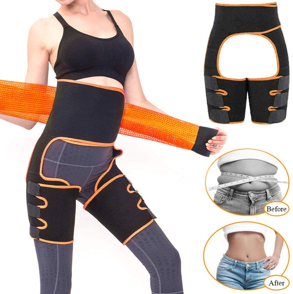 Kaqulec 2020 Upgraded Waist Trainer for Women, 3 in 1 Butt Lifter Waist and Thigh Trimmer Adjustable High Waist Trimmer for Women Weight Loss Workout Sweat