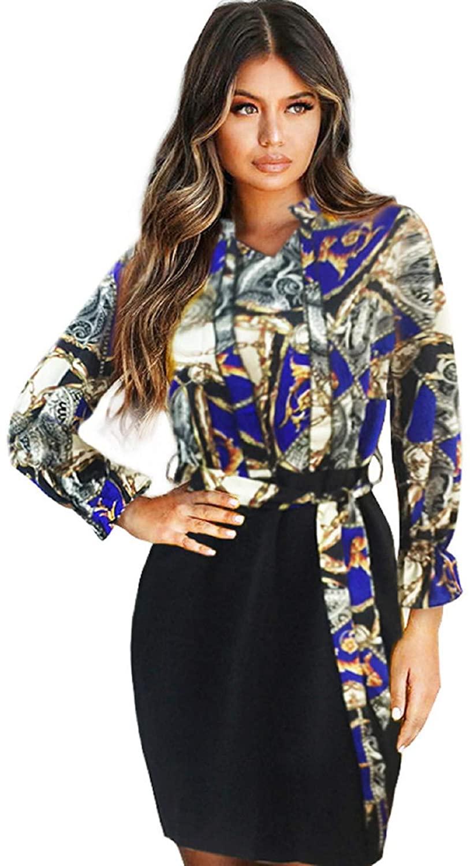 BingYELH Women V-Neck Print Dress,Womens Stitching Printed Long-Sleeved V-Neck Sexy Bag Hip Dress