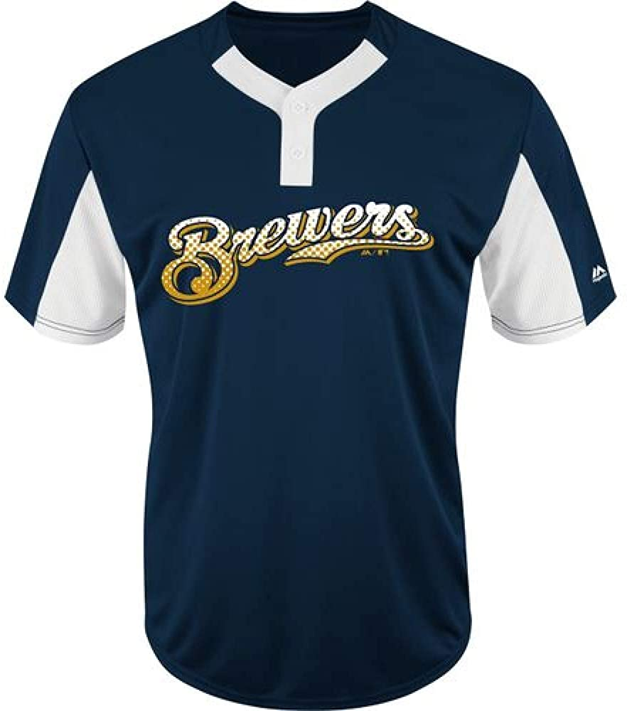 Majestic 2-Button Cool-Base Milwaukee Brewers Custom (Any Name/#) or Blank Back Officially Licensed Baseball Placket Jersey