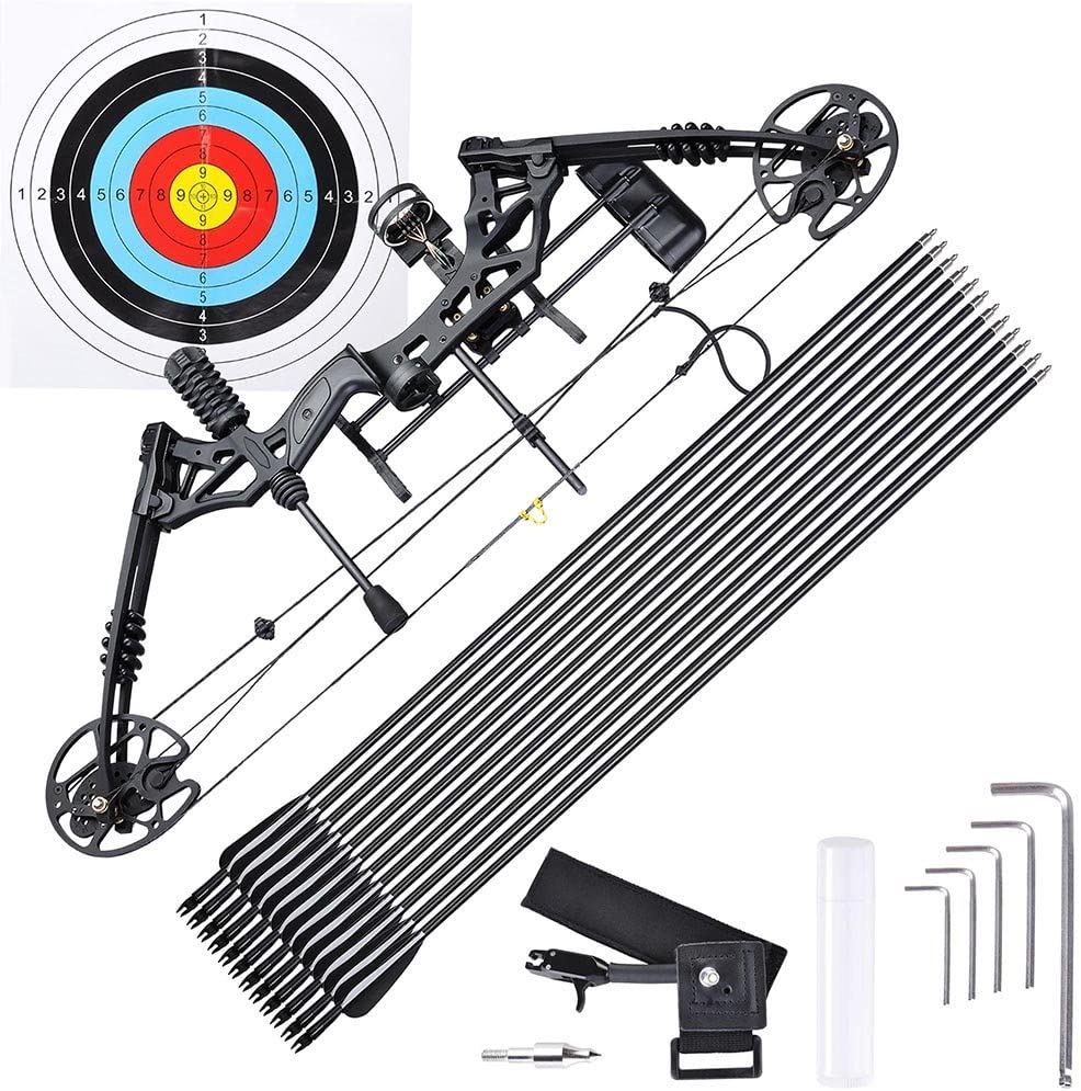 AW Pro Compound Right Hand Bow Kit w/ 12pcs Carbon Arrow Adjustable 20-70lbs Archery Set