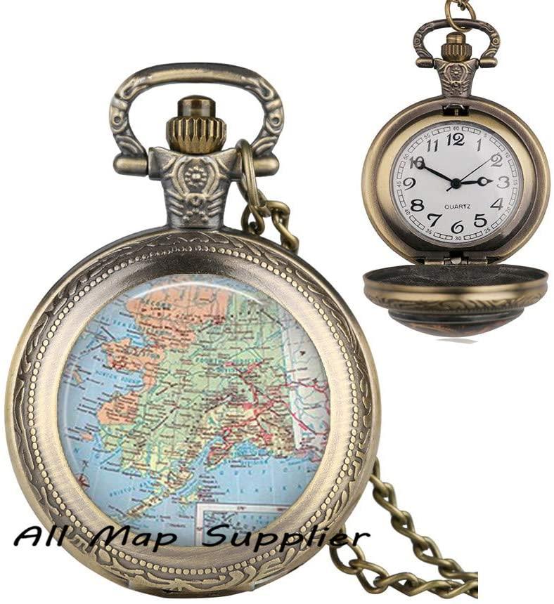 AllMapsupplier Fashion Pocket Watch Necklace,Alaska map Pendant,Alaska map Pocket Watch Necklace Alaska Pendant Alaska Pocket Watch Necklace Alaska map Jewelry,A0182