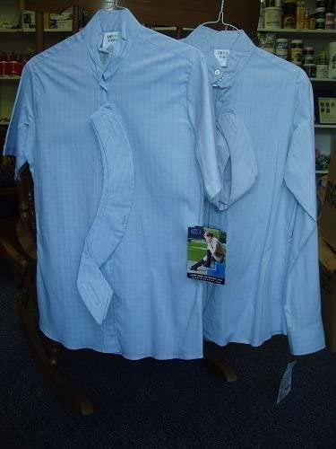 Devon-Aire Blue Plaid Short Sleeved Show Shirt Ladies 34