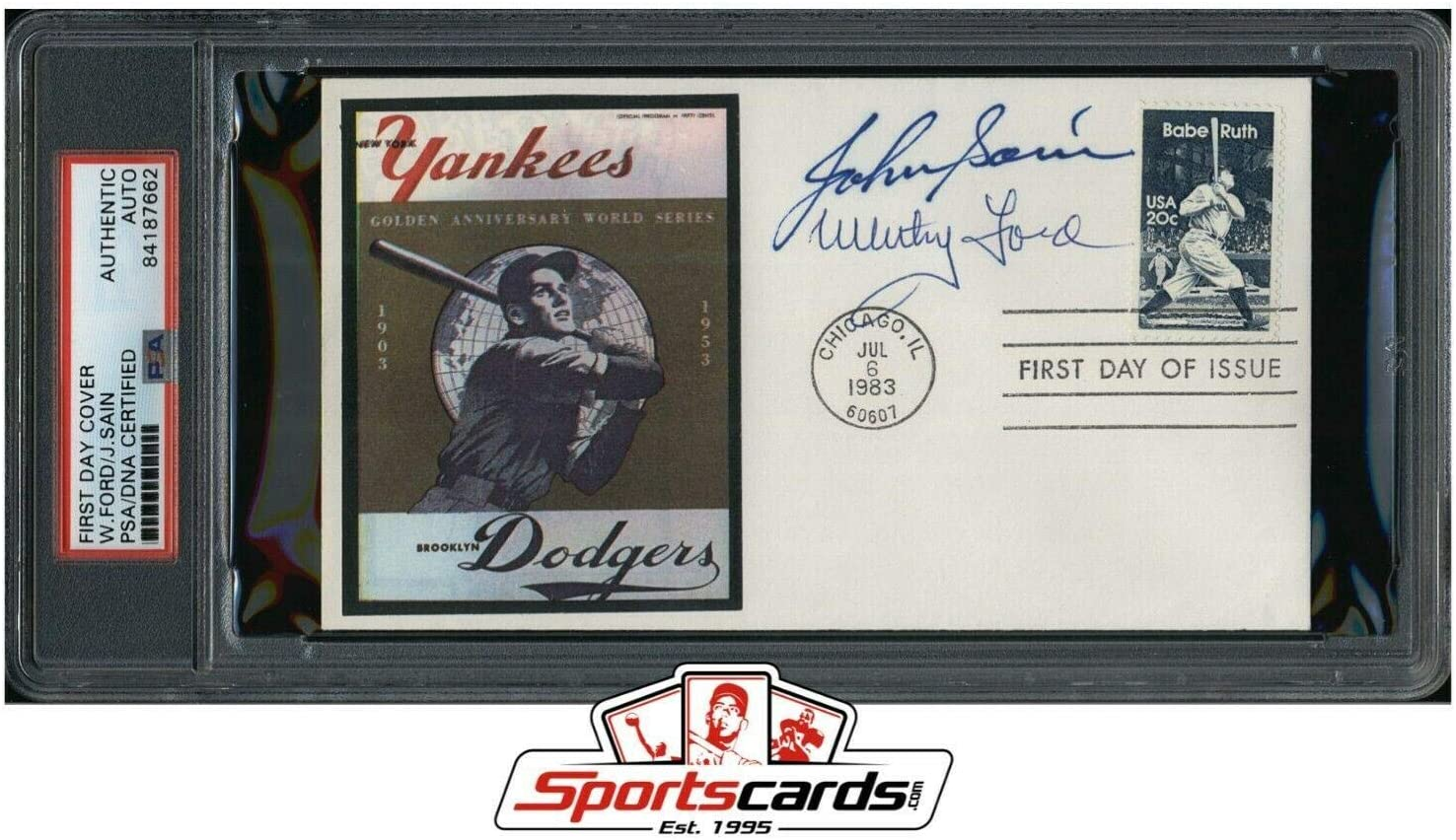 Whitey Ford Johnny Sain Signed First Day Cover Issue MLB HOF - PSA/DNA Certified - MLB Cut Signatures