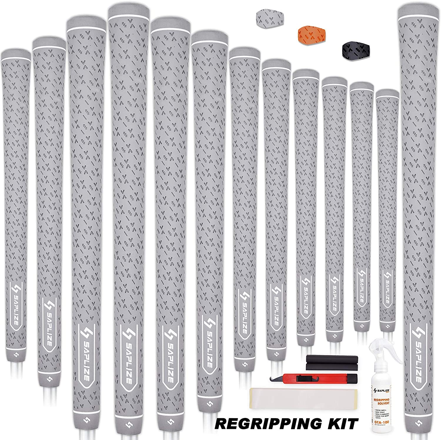 SAPLIZE Golf Grips, Standard/Midsize, 13 Pieces or 3 Test Grips with Full Regripping Kit All Weather Anti-Slip Rubber Golf Club Grips
