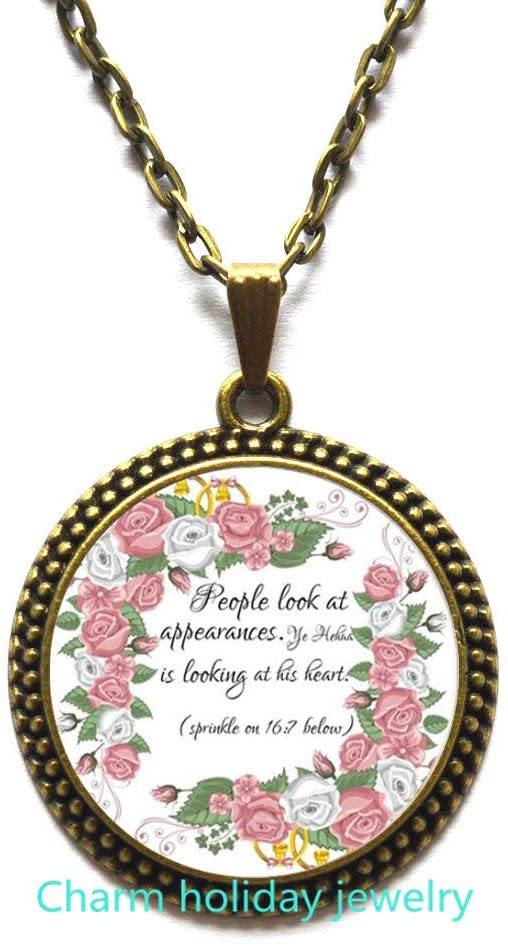 People Look at Necklace,Jewelry Bible Verse Necklace Bible Verse Pendant Faith Necklace Religious-#352