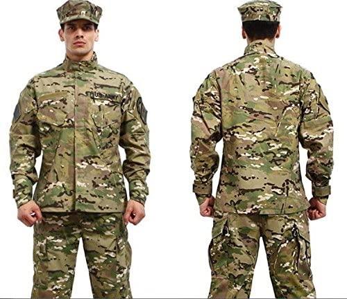 Camouflage Military Battle Dress Uniform Set, Coat + Pant Camo Paintball Hunting Clothing, ACU Type Tactical Military Combat Cargo BDU Suit
