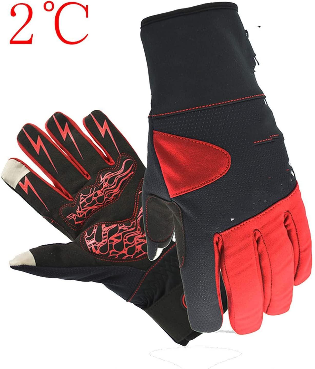 YR5V4V Thermal Ski Gloves Full Finger Touchscreen Winter Cycling Gloves Reflective Biking Driving Gloves Men Women,MK18FRed,M,
