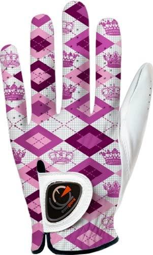 easyglove Geometric_King_Pink-W Women's Golf Glove (White)