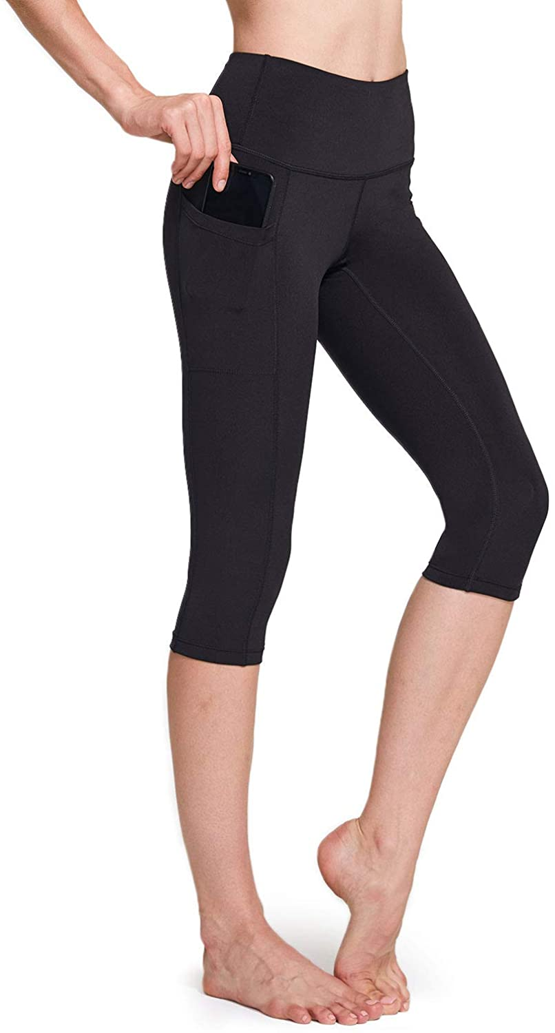 TSLA Women Capri Yoga Pants with Pockets, Capri Workout Leggings, 4-Way Stretch Yoga Capri Leggings w Hidden/Side Pocket