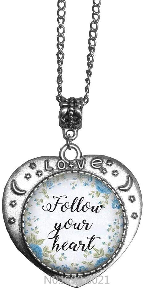 maoqunza Follow Your hreat Necklace Heart Necklace Speech Pendant Motivation Quote Necklace -RG193