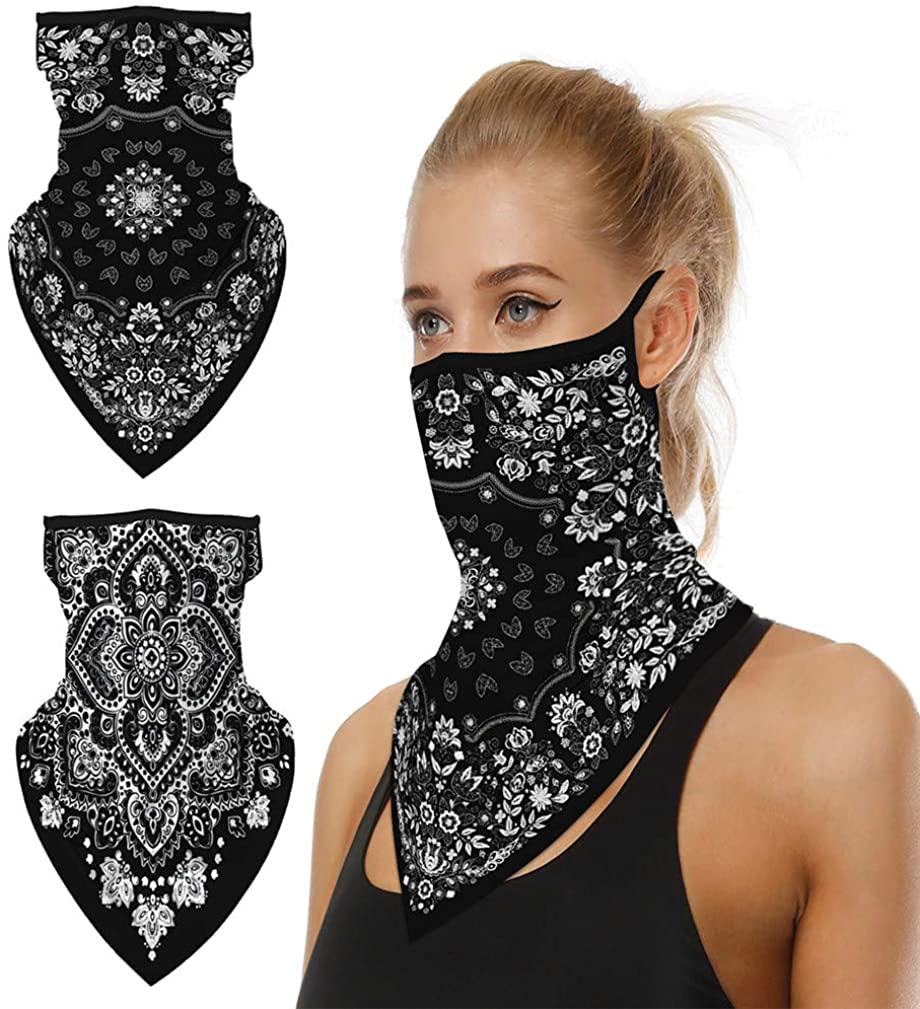 Face Mask Bandana, CoKate 2pcs Unisex Bandana Scarf Balaclava Neck Gaiters Face Covers