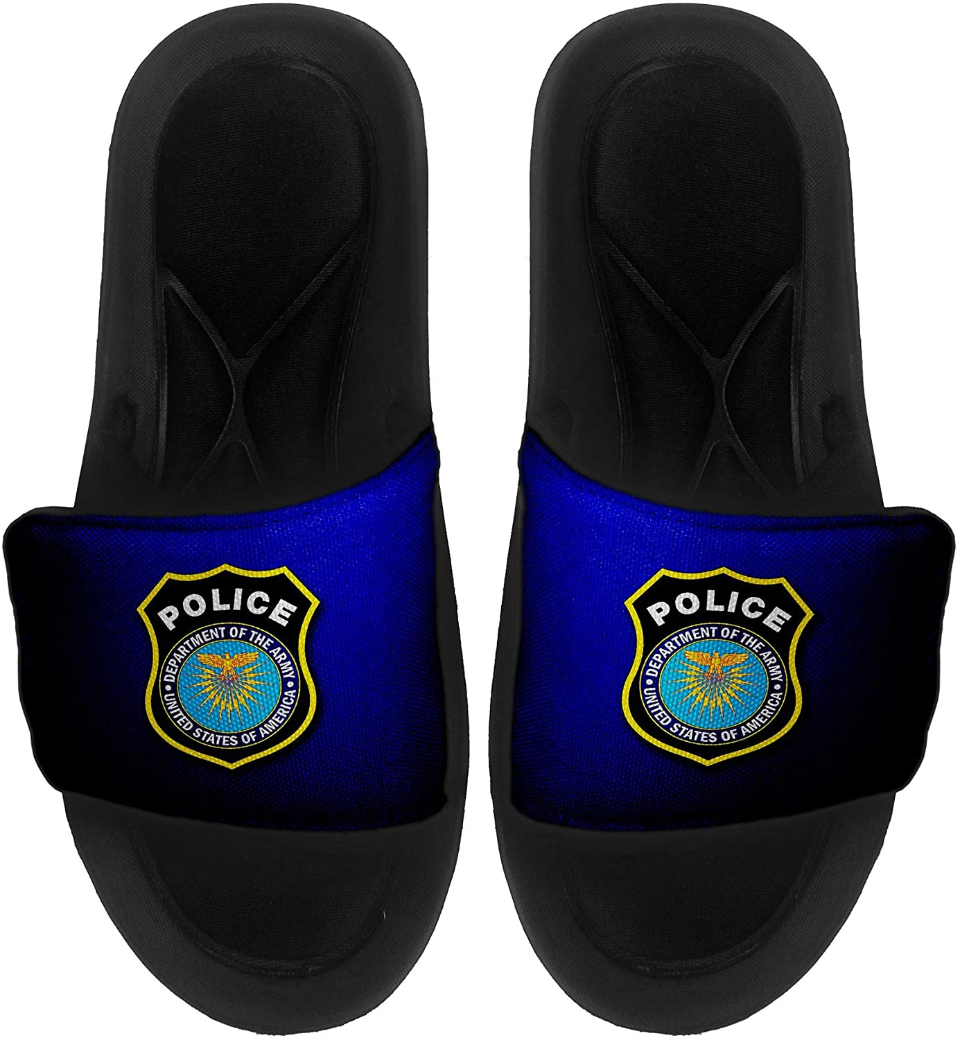 ExpressItBest Cushioned Slide-On Sandals/Slides for Men, Women and Youth - US Army Military Police Corps, Branch Plaque