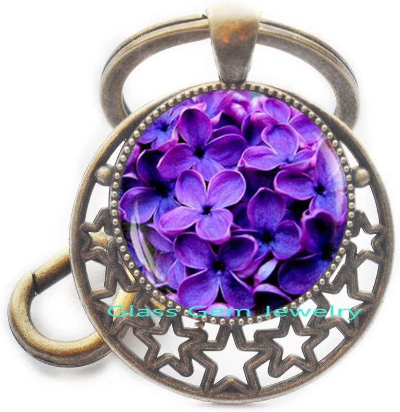 Blue Flower Photo Key Ring, Blue Flower Keychain, Flower Keychain, Blue Flower Jewelry, Flower Photo Key Ring, Blue Keychain, Spring Flower,Q0040