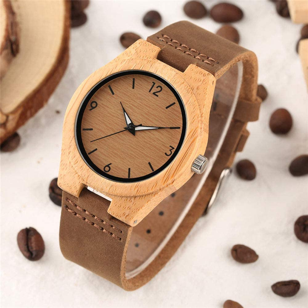 MLSUY Wooden Watch Creative Watches Women Leather Band Bamboo Case Lady Wrist Watch Wooden Light Yellow Dial Modern Female Clock Xmas Gifts