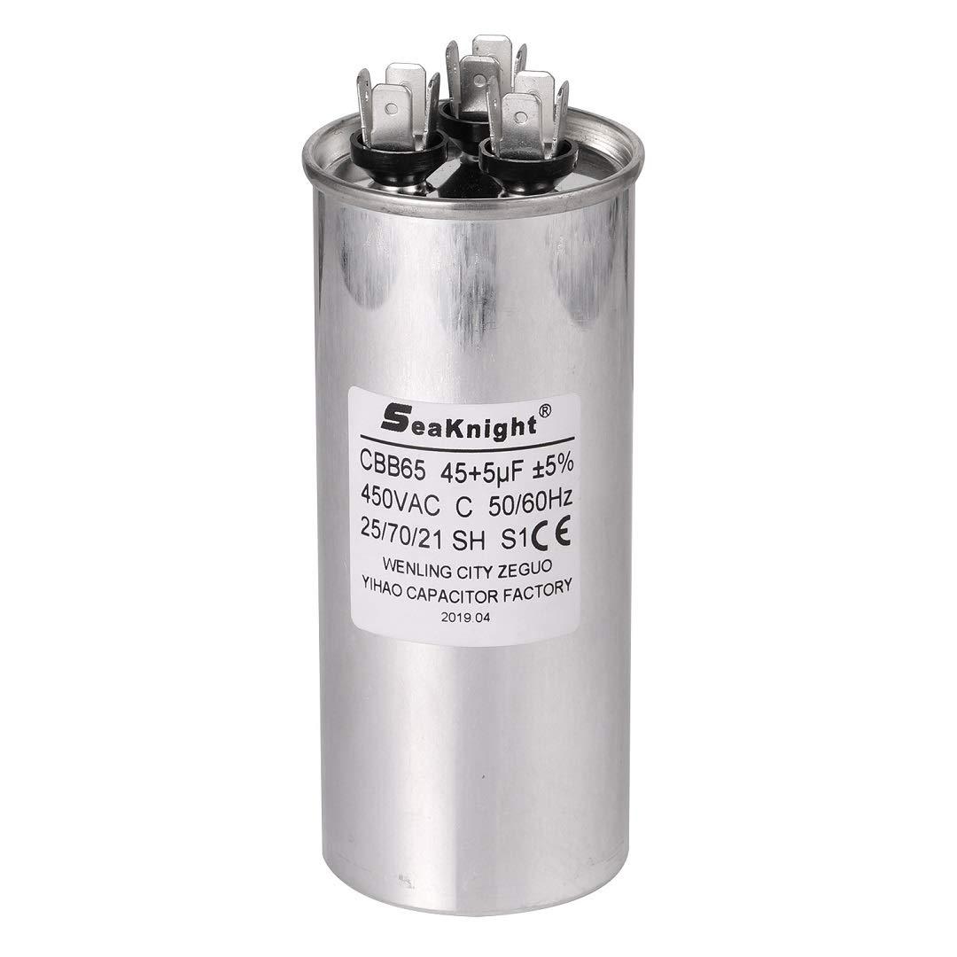BlueCatELE 45 + 5 MFD uF CBB65 Capacitor Air Conditioner Capacitor Round Dural Motor Run Capacitor Withstand 450V AC