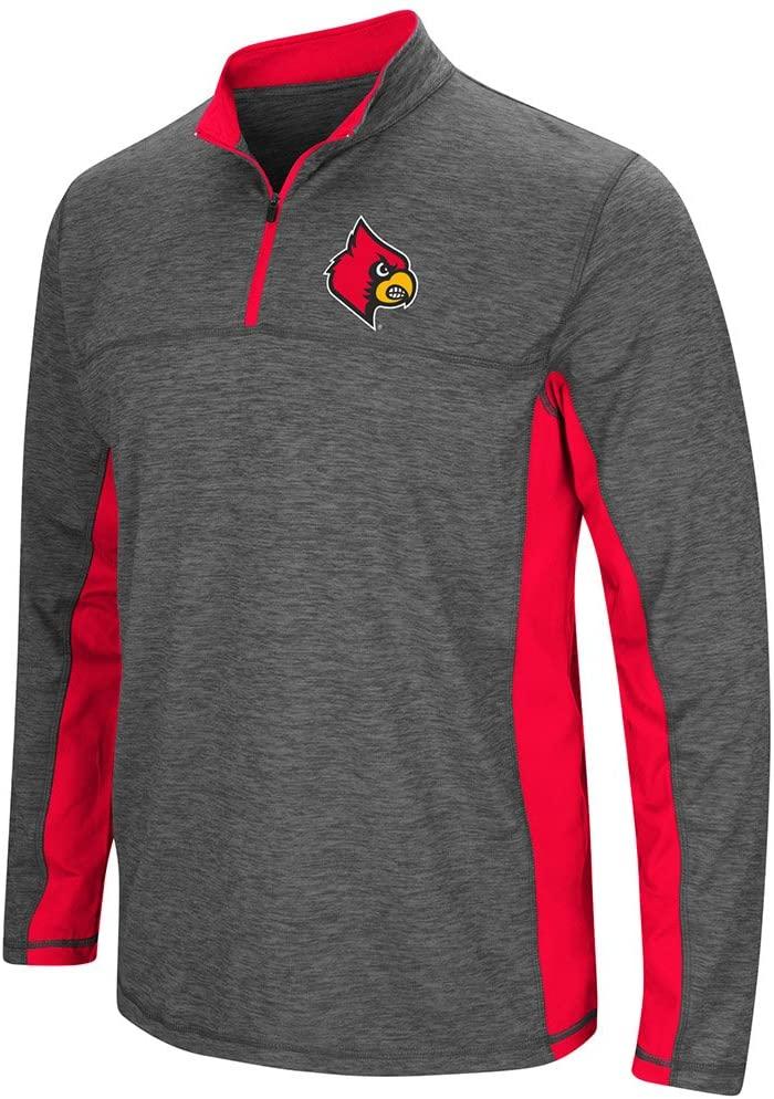 Colosseum Lousiville Cardinals Charcoal Gray & Red Milton 1/4 Zip LS Windshirt