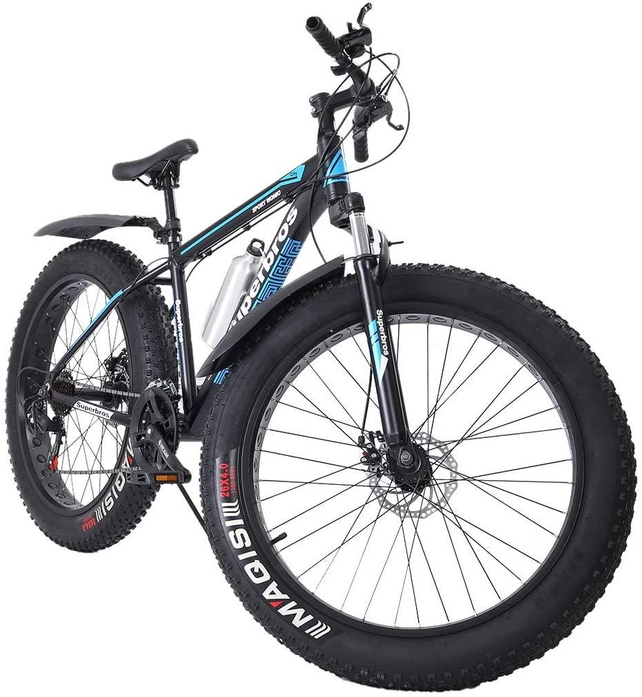 Cool Fat Tire Mens Mountain Bike 17-Inch/Medium High-Tensile Aluminum Frame Advanced Mountain Bicycle Road Bike, 21-Speed 26-inch Wheels Adult Bike