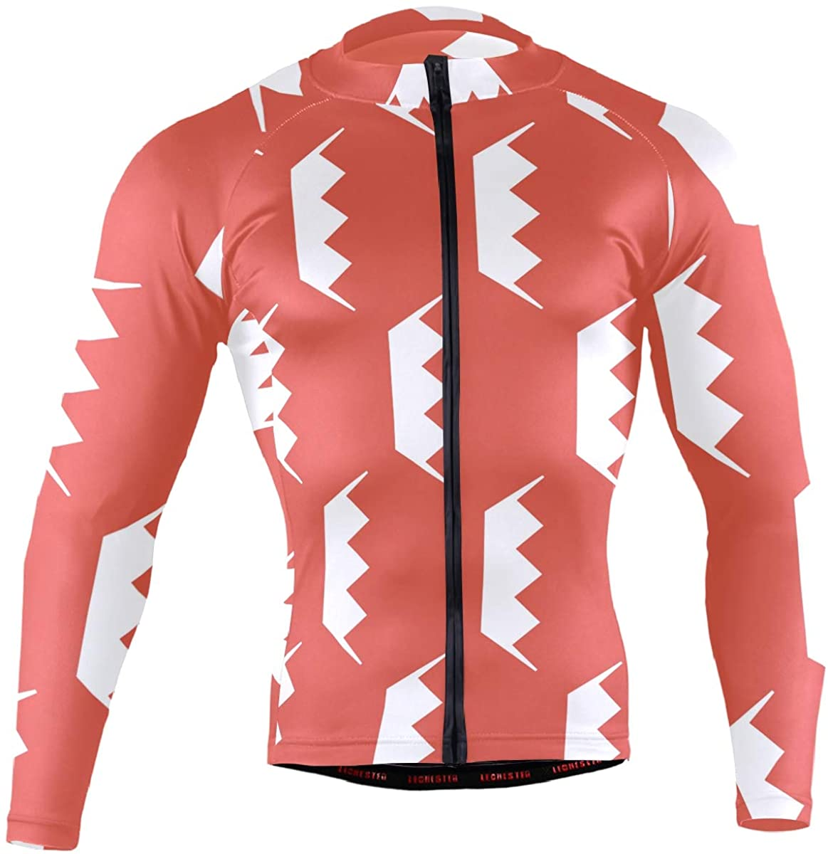 Bahrain Flag Men's Long Sleeve Cycling Jersey Bicycle Jacket Pockets Full Zipper Bike Biking Shirts