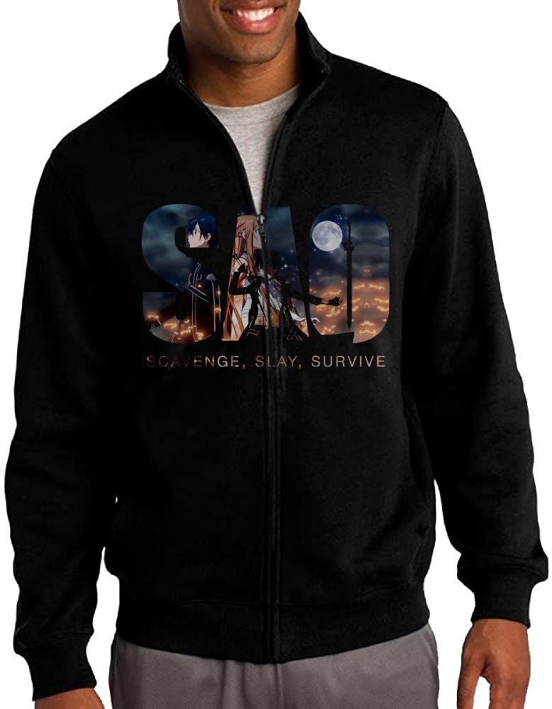 ILKU Men's SAO Sword Art Online Zip-Up Hoodie Jackets Black
