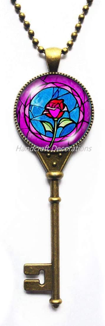 HandcraftDecorations Rose Flower Key Necklace,Rose Key Necklace,Rose Charm Key Necklace,Rose Pendant Key Necklace,Rose Jewelry,Everyday Key Necklace,Simple Key Necklace,BFF Key Necklace.F018