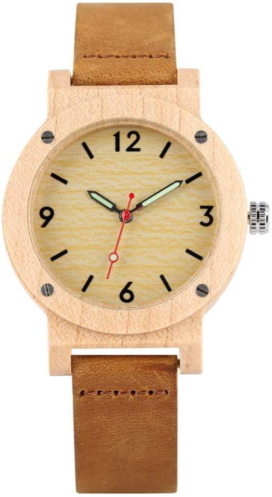 FQD&BNM Wooden Watch Women's Quartz Wooden Watch Leather Strap Wristwatch for Girl Luminous Wooden Watches for Ladies