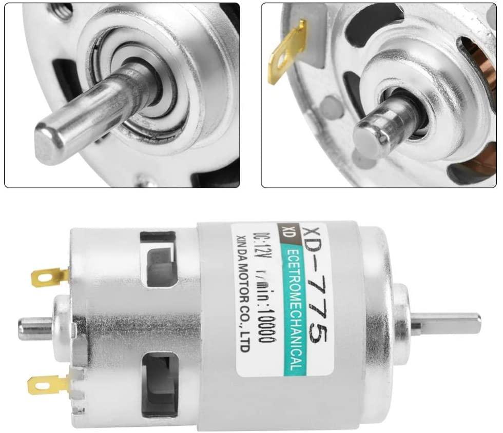 Naroote Brush DC Motor, XD-775 12V/24V High Speeds Low Noise Double Ball Bearing Brush DC Motor -Product Quality Assurance(12V10000)