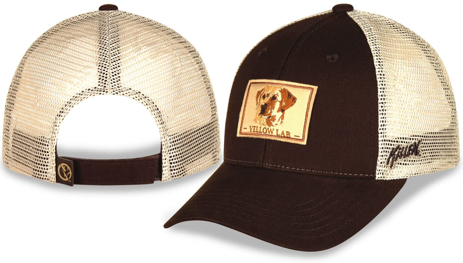 Yellow Lab Hunting Baseball Cap with Copper Front and Khaki mesh Back Featuring Art from Jim Killen