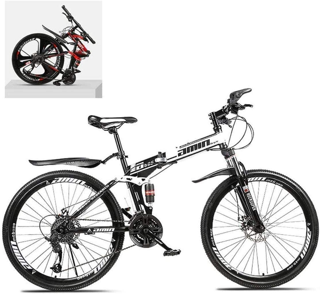 CSS 26 inch Folding Bikes,High Carbon Steel Frame Double Shock Absorption Variable,All Terrain Quick Adult Mountain Off-Road Bicycle 6-6,C,24 Speed
