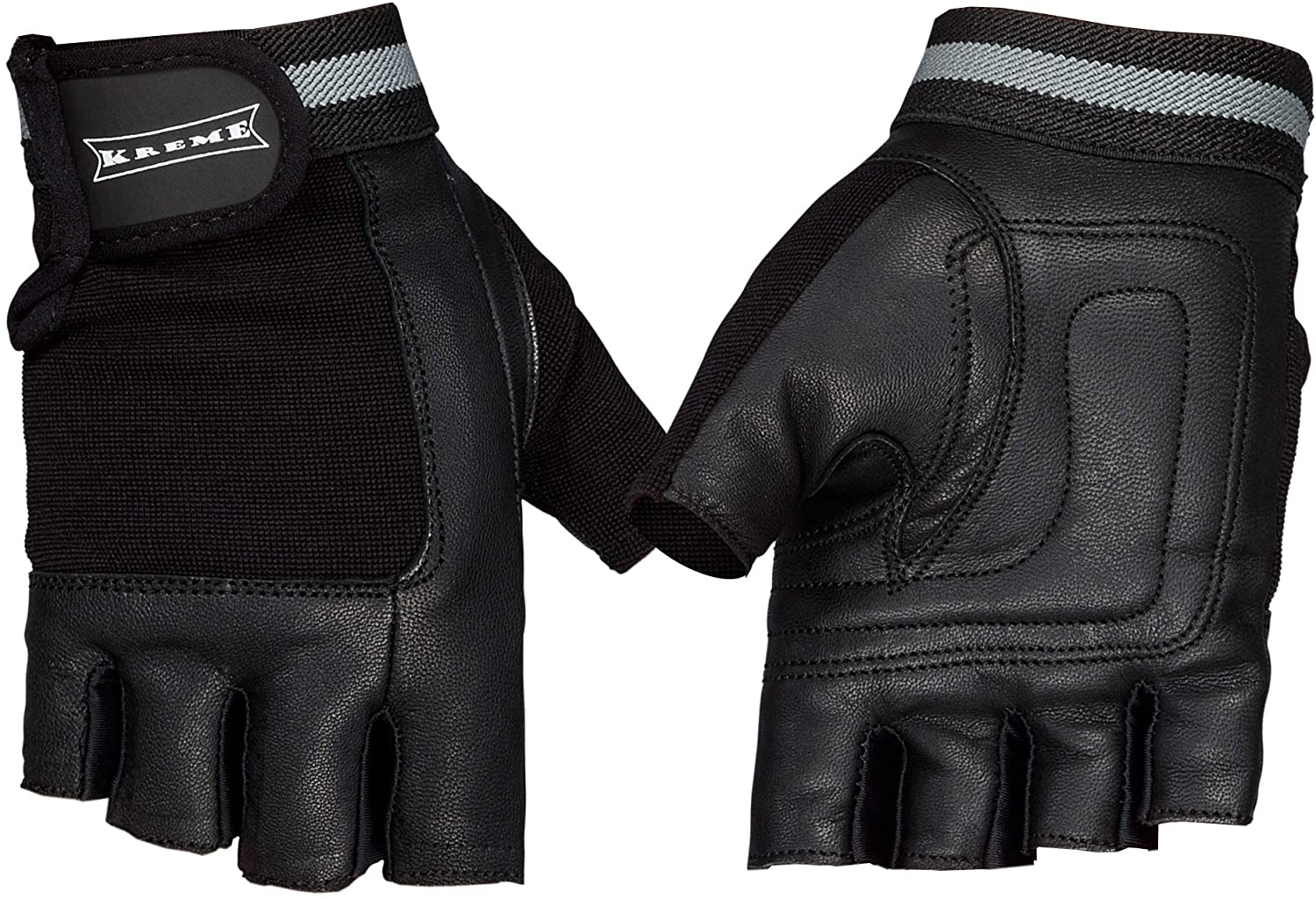 Kreme Apparel Workout Gloves Weight Lifting and Fitness Training Leather with Full Protection and Fingerless Grip