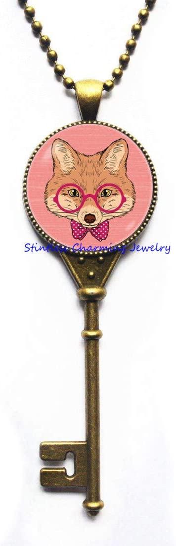 Fox Key Necklace Fox Jewelry Red Fox Pendant Glass Art Key Necklace Art Key Necklace Fox Jewelry Animal Jewelry Gift for Friend Art Fox pendant-JV193