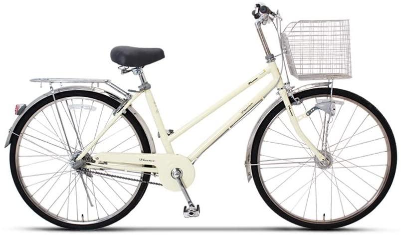 Waitousan Retro Bicycle, High-Carbon Steel 26-inch Wheel Diameter Women's Leisure City Bike with Tandem Basket Comfortable