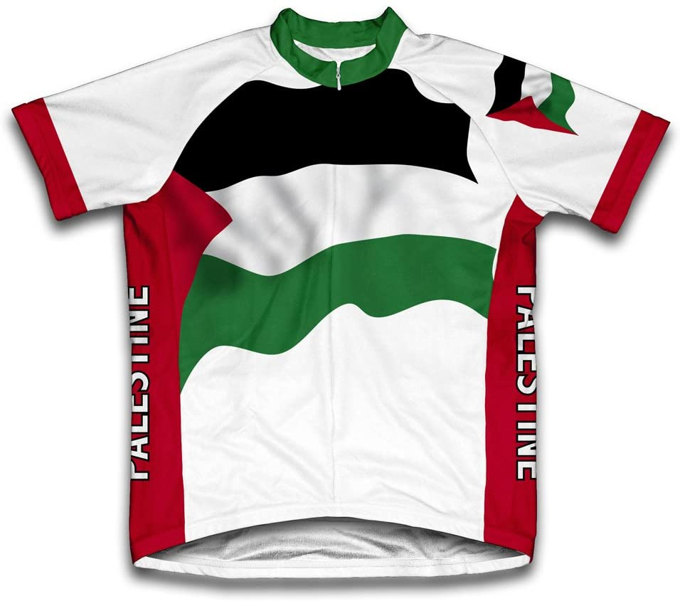 ScudoPro Palestine Flag Short Sleeve Cycling Jersey for Men