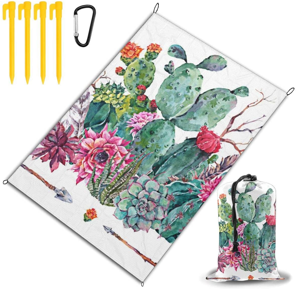 Beach Picnic Blanket Bouquet In Boho Cactus Succulent Flowers Weather-Proof Oversized Outdoor Handy Mat Sand Proof Camping Travelling Accessories Folding Family Tote On Grass Hiking Quick Dry Bag